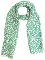 Fiorio Green Silk Linen Scarf