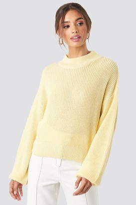 NA-KD Volume Sleeve High Neck Knitted Sweater Beige