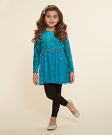 Dollie & Me Teal & Black Tunic Set & Doll Outfit - Girls