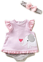 Starting Out Newborn-9 Months Elephant-Appliqued Ruffle Top & Bloomer Set