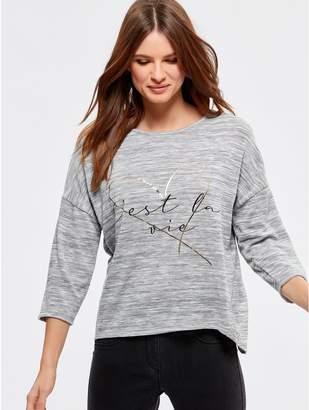M&Co Petite foil slogan top