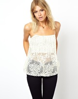 Asos Swing Cami Top in Pleated Lace