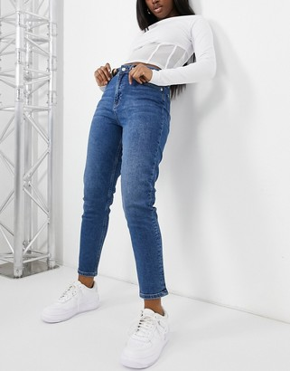NA-KD organic cotton mom jeans in mid blue