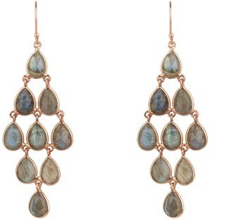 Latelita Erviola Gemstone Cascade Earring Rose Gold Labradorite