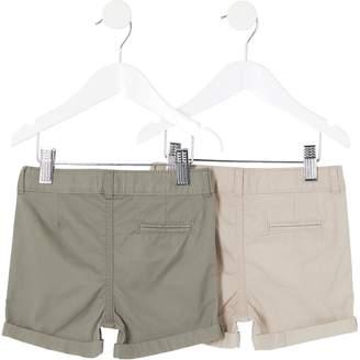 River Island Mini Boys Chino Shorts Multipack - Stone/Khaki