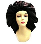 Dream Super Jumbo Night & Day Cap - Black, Satin, fabric, elastic band, cotton, holds hair in place, large, extra large, one size fits all, sleep cap, comfortable, soft material