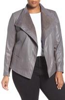 Sejour Asymmetrical Leather Jacket (Plus Size)
