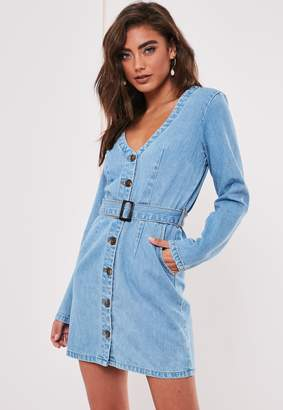 Missguided Blue Belted Plunge Denim Mini Dress