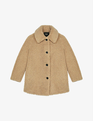 Maje Gatino single-breasted teddy coat