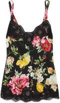 Dolce & Gabbana Lace-trimmed Floral-print Silk-blend Satin Camisole - Black
