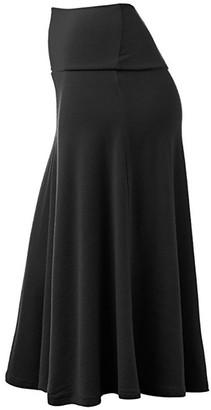 Gofodn Skirts Women Plus Size Elastic Waist Evening Party Ladies Elegant Solid Casual Occupation Midi Skirts S-3XL Black