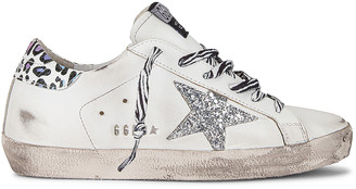 Golden Goose Superstar Sneaker in White, Silver, & Multicolor Leopard | FWRD