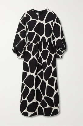 Valentino Printed Wool And Silk-blend Crepe Midi Dress - Ivory