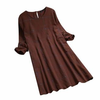 Toamen Women's Dress Toamen Womens Plus Size Dress Sale Clearance Linen Ladies Casual Vintage Plaid Long Sleeve Loose Shirt Dress (Dark Gray 20)