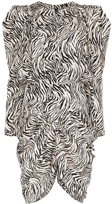 Isabel Marant Puff-Sleeve Zebra Print Dress
