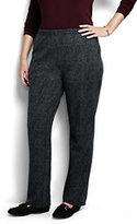 Lands' End Women's Plus Size Petite Sport Knit Pants-Black Textured Jacquard