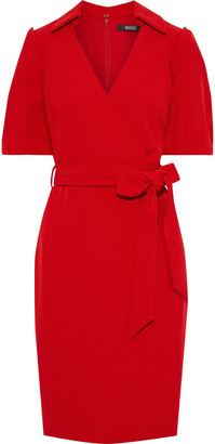 Badgley Mischka Wrap-effect Belted Crepe Dress