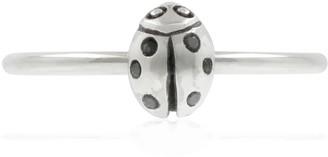 Lee Renee Ladybird Black Diamond Ring/Wings Closed -Silver