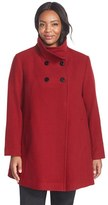 Larry Levine Plus Size Women's Wool Blend A-Line Babydoll Coat