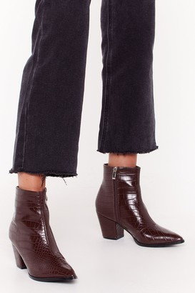 Nasty Gal Womens Pop Croc and Drop Faux Leather Block Heel Boots - Brown - 3