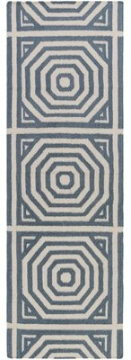 "Surya Flatweave Peacock Handwoven Wool/Cotton Gray/Teal Area Rug Rug Size: Runner 2'6"" x 8'"