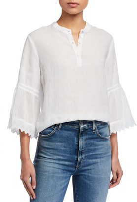 120% Lino Button-Placket 3/4 Pleated Ruffle Sleeve Blouse