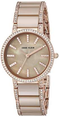 Anne Klein Women's AK/3306KHRG Swarovski Crystal Accented Rose Gold-Tone and Khaki Ceramic Bracelet Watch