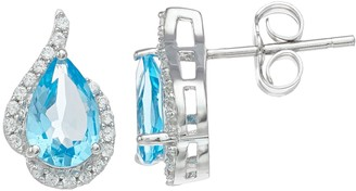 Sterling Silver Blue Topaz & Lab-Created White Sapphire Tear Drop Earrings