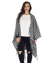 Missy Empire Beri Dogtooth Knitted Fringe Poncho