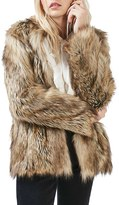 Topshop Women's Kate Faux Fur Coat