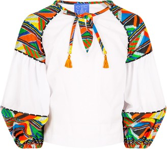 Stella Jean White Girl Shirt With Colorful Details