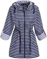 Big Chill Women's Non-Denim Casual Jackets Stripe - Navy Stripe Pack-in-Pocket Anorak - Women