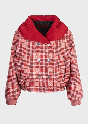 Giorgio Armani Oversized Glen Plaid, Cotton Blouson