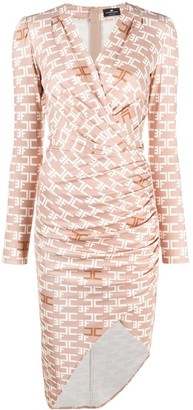 Elisabetta Franchi Logo Print Wrap Dress