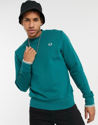 Fred Perry small embroidered logo sweat in teal