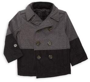 London Fog Baby Boy's Colorblock Double-Breasted Peacoat