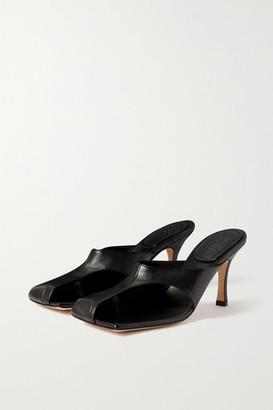 A.W.A.K.E. Mode Mary Cutout Leather Mules - Black