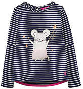 Joules Little Joule Girls' Mouse Print T-Shirt, French Navy