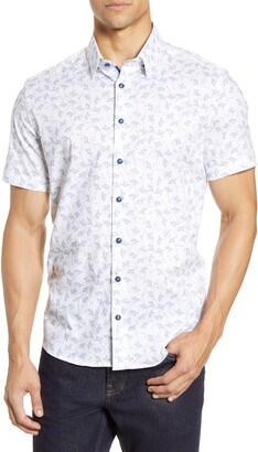 Stone Rose Slim Fit Floral Short Sleeve Button-Up Shirt