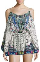 Camilla Embellished Cold-Shoulder Silk Romper