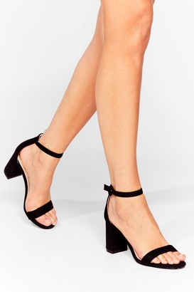 Nasty Gal Womens Faux Suede for You Strappy Block Heels - Black - 5, Black