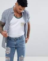 Armani Exchange Gingham Short Sleeve Shirt In Navy