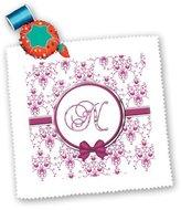 3dRose LLC qs_164843_2 Charlyn Woodruff - CW Designs Monogram Hearts - Elegant Pink and Silver Heart Damask Monogram Letter N - Quilt Squares