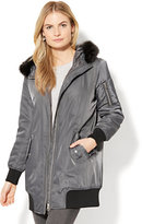 New York & Co. Long Faux-Fur Hooded Bomber Jacket