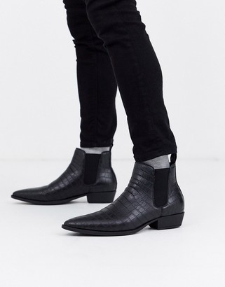 Asos DESIGN stacked heel western chelsea boots in black faux leather with croc effect