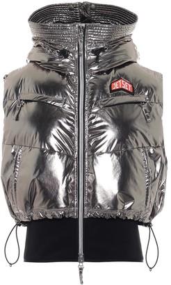 Jet Set Metallic puffer ski vest