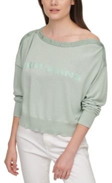 DKNY Cotton Logo Boatneck Sweater