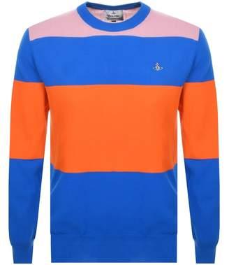 Vivienne Westwood Colour Block Knit Jumper Blue