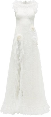 Rodarte Rosette Ruffled Chantilly-lace Gown - Womens - White