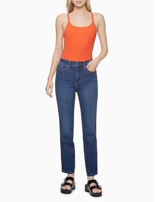 Calvin Klein Slim Fit High Rise Logo Tape Piped Jeans